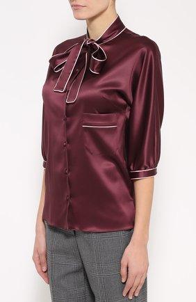 Шелковая блуза с контрастной отделкой и воротником аскот | Фото №3