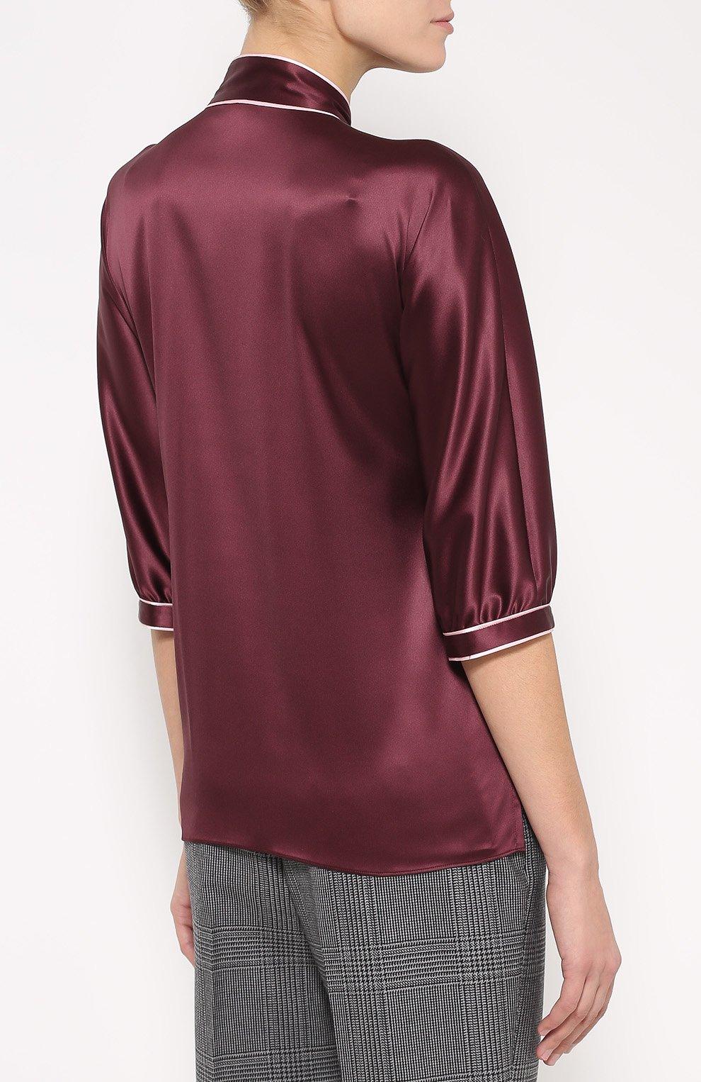 Шелковая блуза с контрастной отделкой и воротником аскот | Фото №4