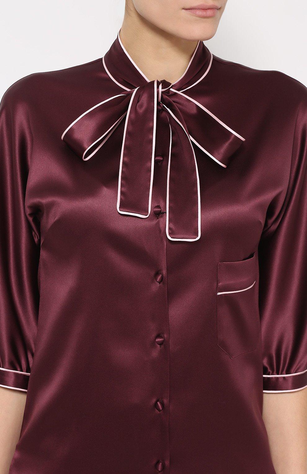 Шелковая блуза с контрастной отделкой и воротником аскот | Фото №5