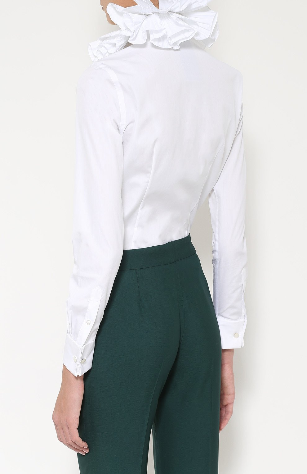 624866fa288 Женская белая приталенная блуза с воротником жабо RALPH LAUREN ...