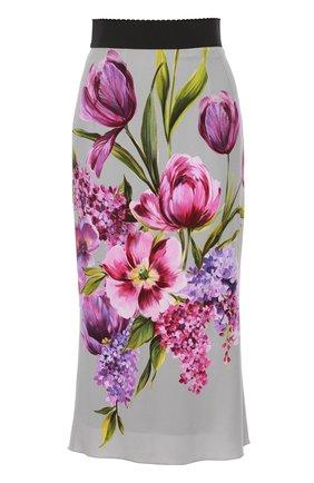 Юбка-карандаш с цветочным принтом Dolce & Gabbana серая | Фото №1
