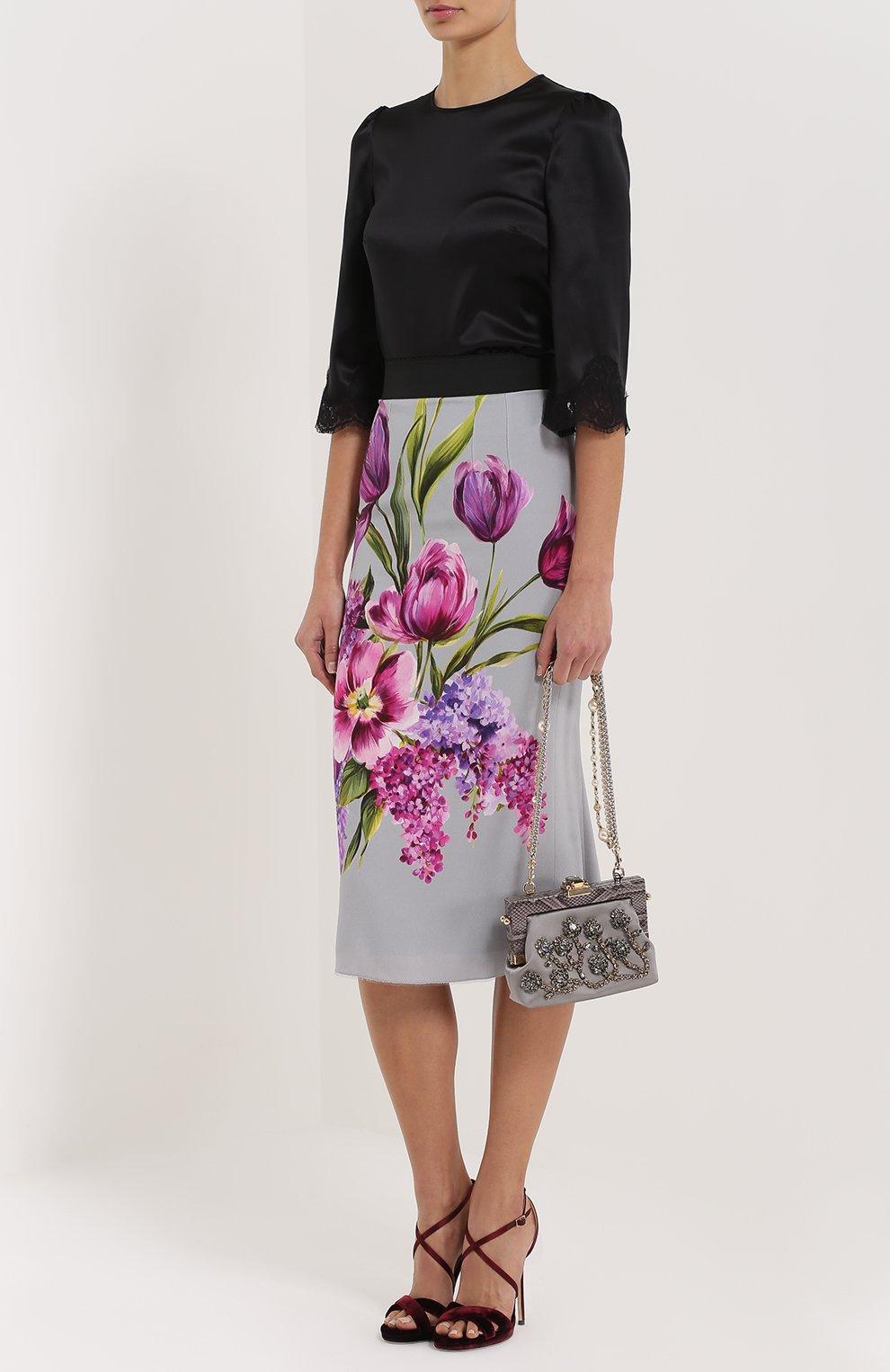 Юбка-карандаш с цветочным принтом Dolce & Gabbana серая | Фото №2