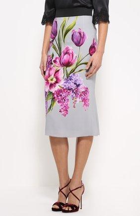 Юбка-карандаш с цветочным принтом Dolce & Gabbana серая | Фото №3