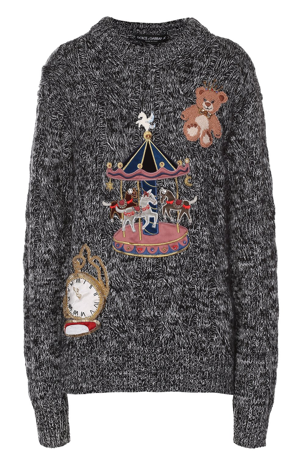 Кашемировый пуловер фактурной вязки с яркой вышивкой   Фото №1