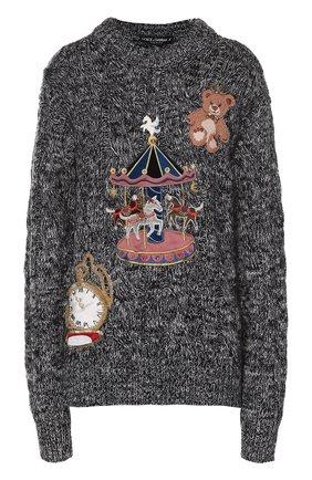 Кашемировый пуловер фактурной вязки с яркой вышивкой Dolce & Gabbana серый   Фото №1
