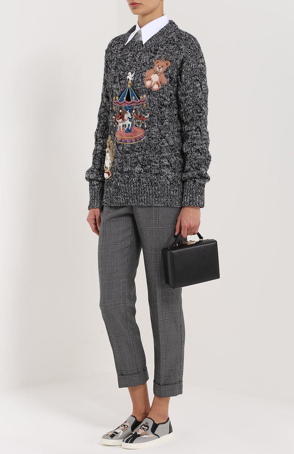 Кашемировый пуловер фактурной вязки с яркой вышивкой Dolce & Gabbana серый   Фото №2