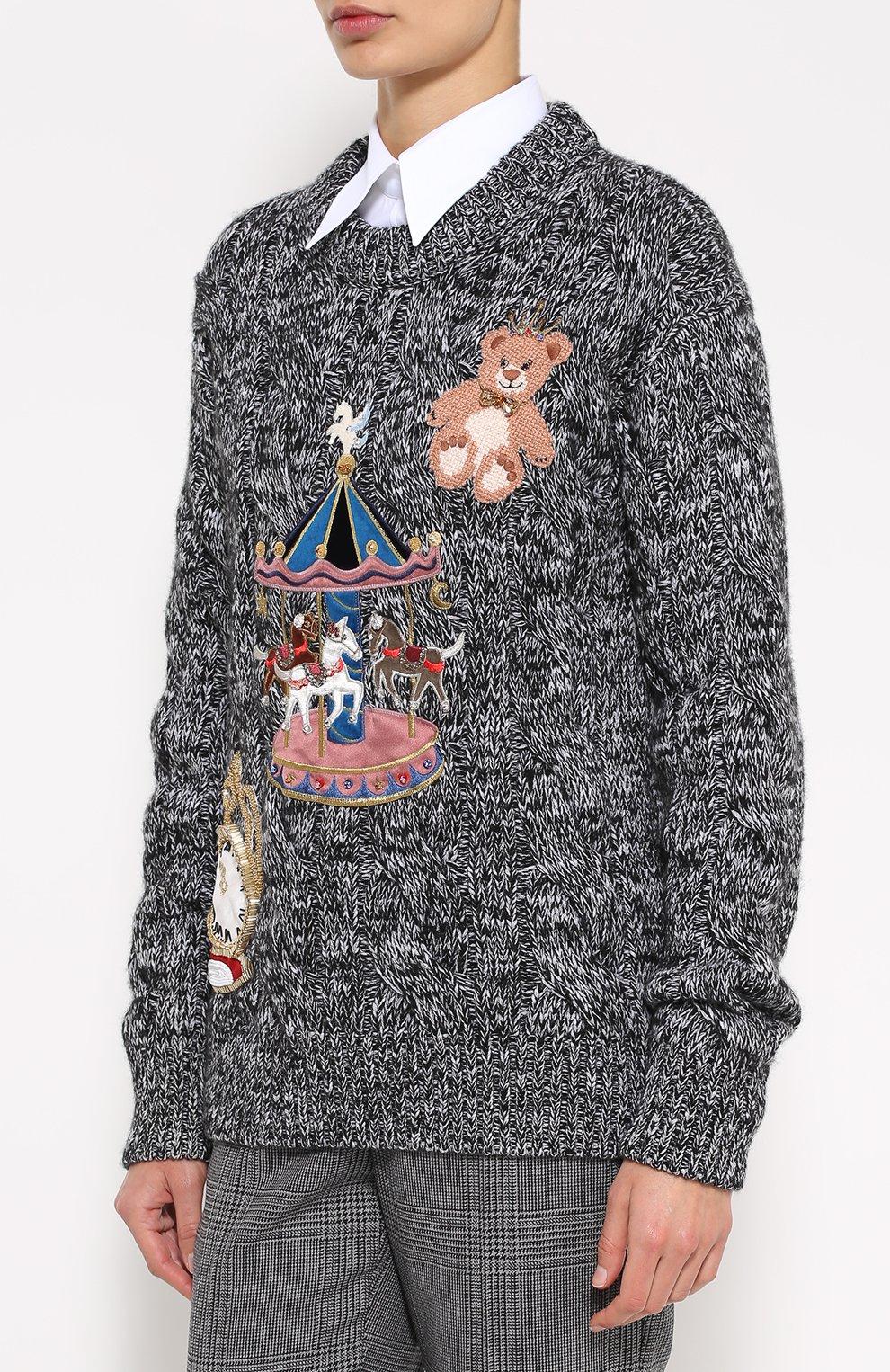 Кашемировый пуловер фактурной вязки с яркой вышивкой Dolce & Gabbana серый   Фото №3