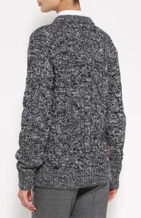 Кашемировый пуловер фактурной вязки с яркой вышивкой Dolce & Gabbana серый   Фото №4