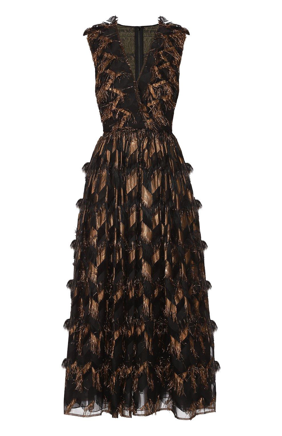 Приталенное платье с декоративной отделкой и V-образным вырезом | Фото №1