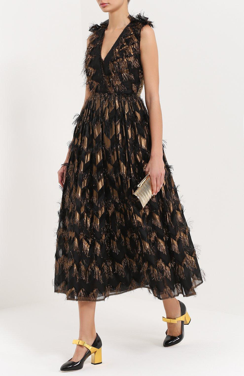 Приталенное платье с декоративной отделкой и V-образным вырезом Dolce & Gabbana черное | Фото №2