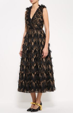 Приталенное платье с декоративной отделкой и V-образным вырезом Dolce & Gabbana черное | Фото №3