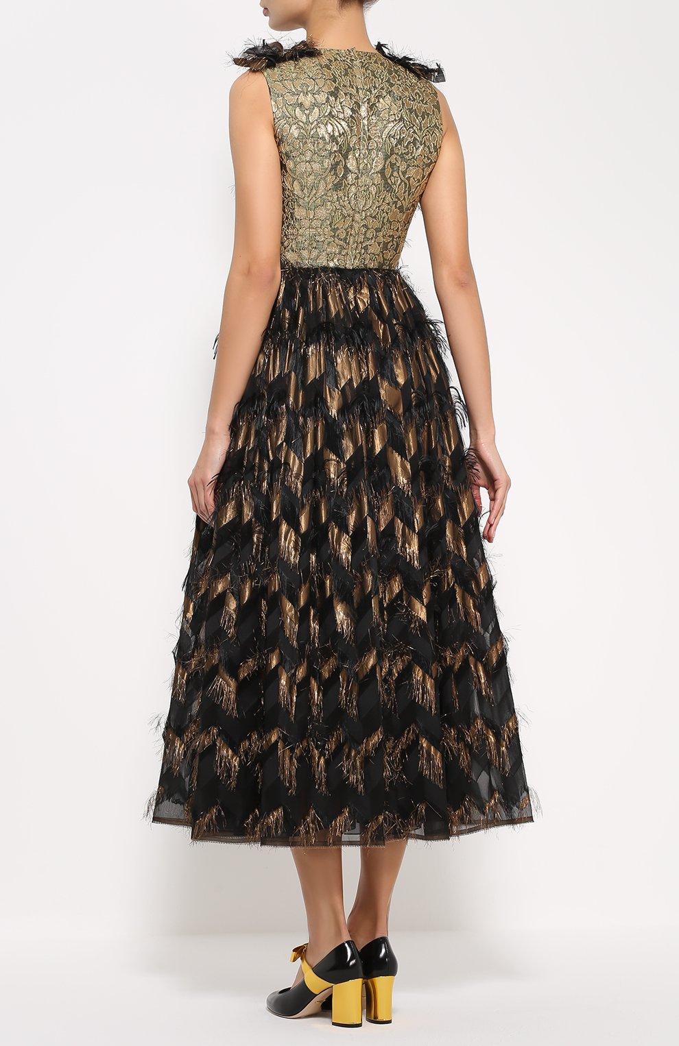 Приталенное платье с декоративной отделкой и V-образным вырезом Dolce & Gabbana черное | Фото №4