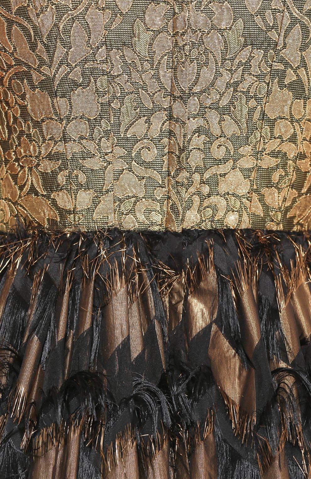 Приталенное платье с декоративной отделкой и V-образным вырезом Dolce & Gabbana черное | Фото №5
