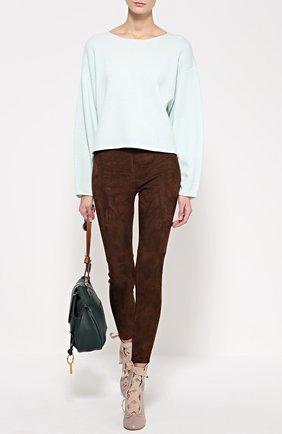 Замшевые брюки-скинни | Фото №2