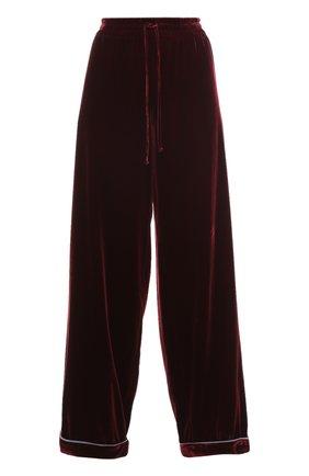 Бархатные брюки в пижамном стиле с эластичным поясом   Фото №1