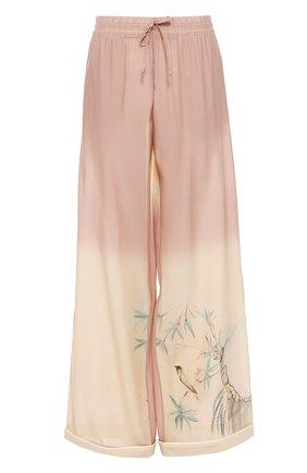 Шелковые брюки в пижамном стиле с эластичным поясом   Фото №1