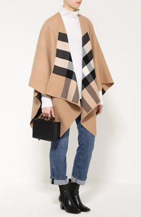 Шерстяное пончо с контрастной подкладкой Burberry светло-коричневая | Фото №2