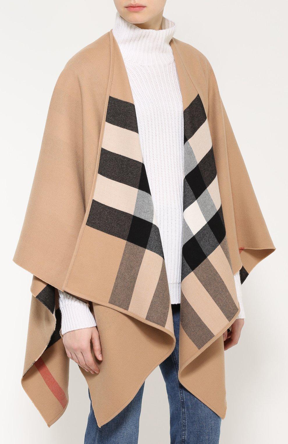 Шерстяное пончо с контрастной подкладкой Burberry светло-коричневая | Фото №3