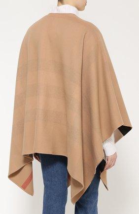 Шерстяное пончо с контрастной подкладкой Burberry светло-коричневая | Фото №4