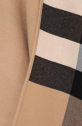 Шерстяное пончо с контрастной подкладкой Burberry светло-коричневая | Фото №5