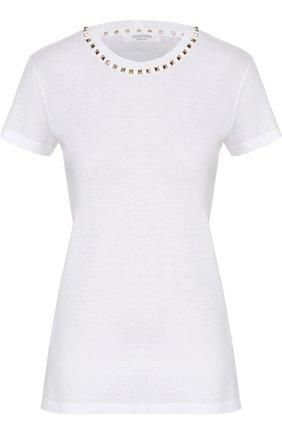 Женская хлопковая футболка VALENTINO белого цвета, арт. LB3MG03A/2QK | Фото 1