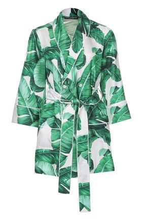 Шелковый жакет в пижамном стиле с цветочным принтом Dolce & Gabbana зеленый | Фото №1