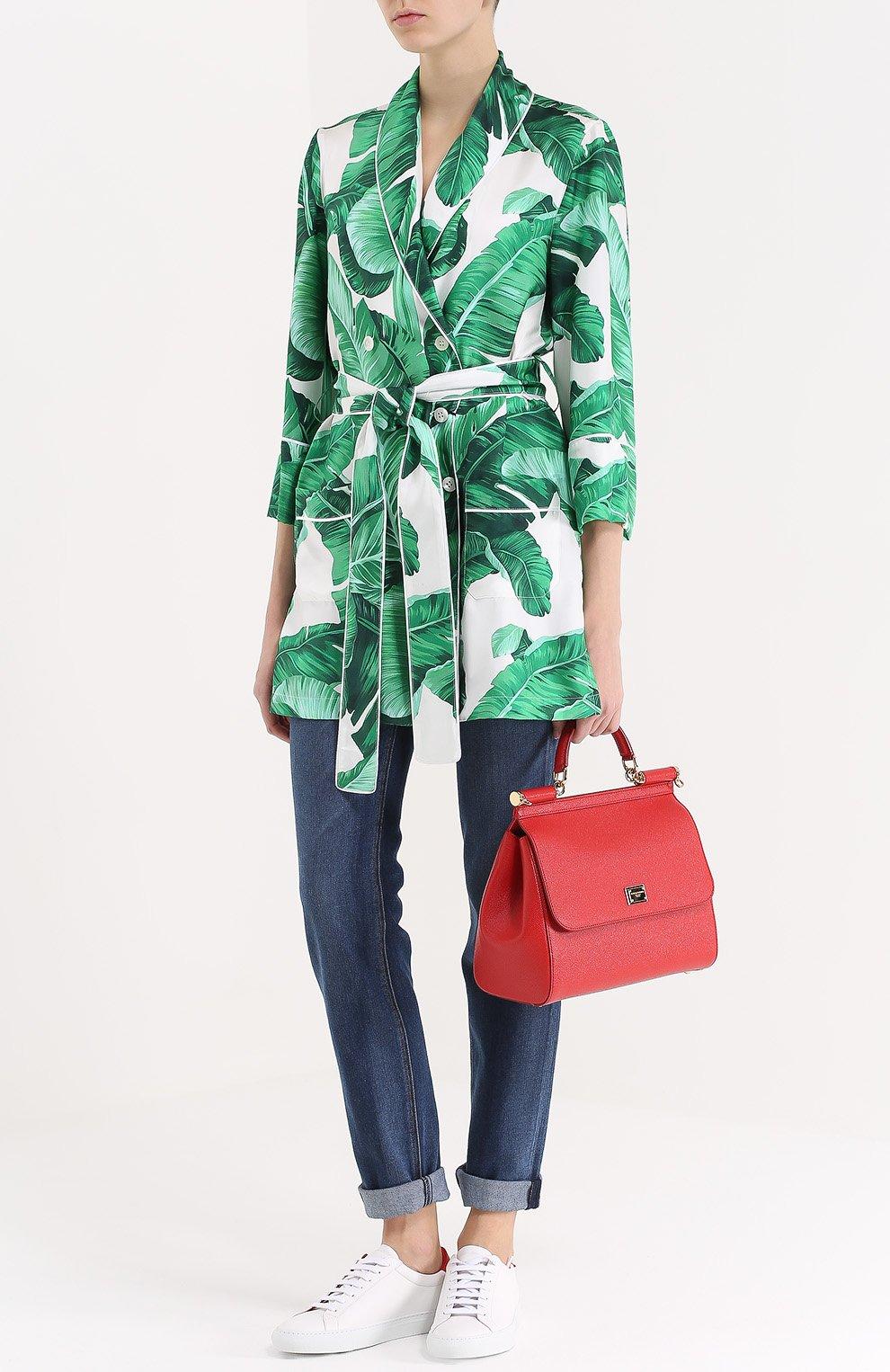 Шелковый жакет в пижамном стиле с цветочным принтом Dolce & Gabbana зеленый | Фото №2