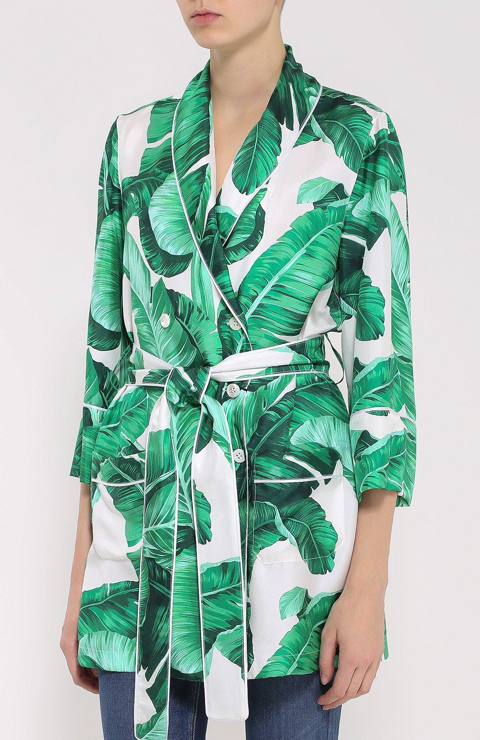 Шелковый жакет в пижамном стиле с цветочным принтом Dolce & Gabbana зеленый | Фото №3