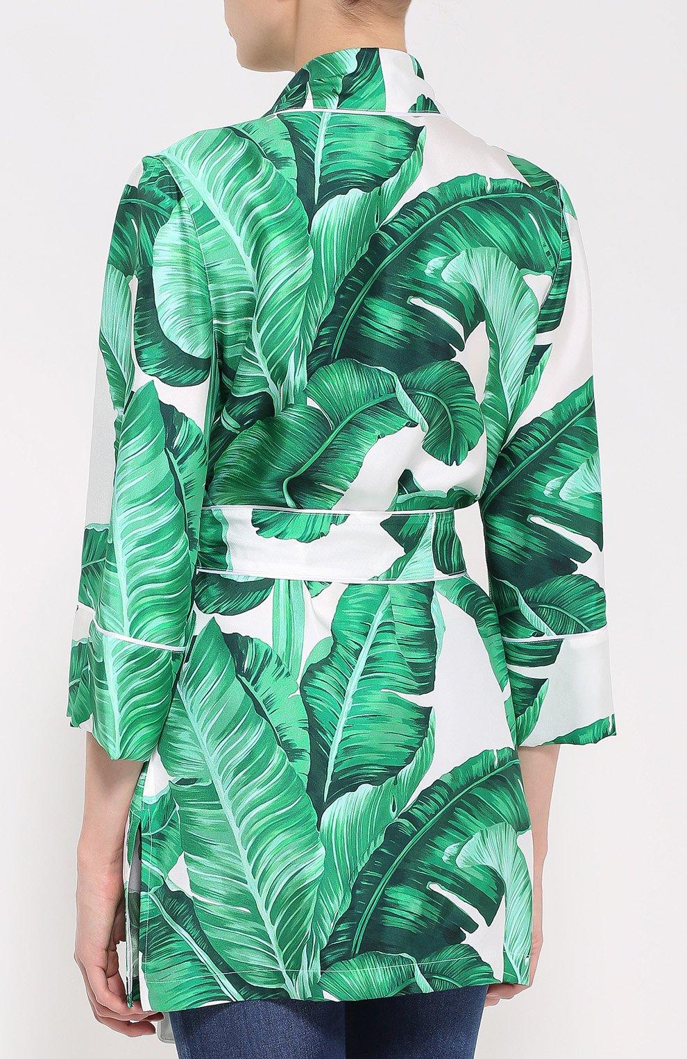 Шелковый жакет в пижамном стиле с цветочным принтом | Фото №4