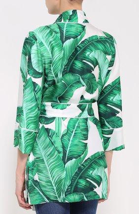 Шелковый жакет в пижамном стиле с цветочным принтом Dolce & Gabbana зеленый | Фото №4