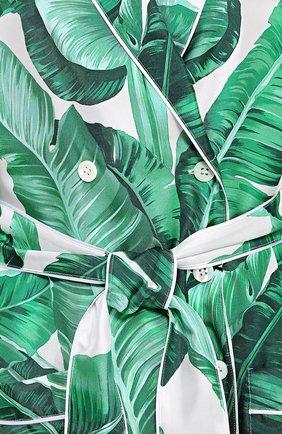 Шелковый жакет в пижамном стиле с цветочным принтом Dolce & Gabbana зеленый | Фото №5