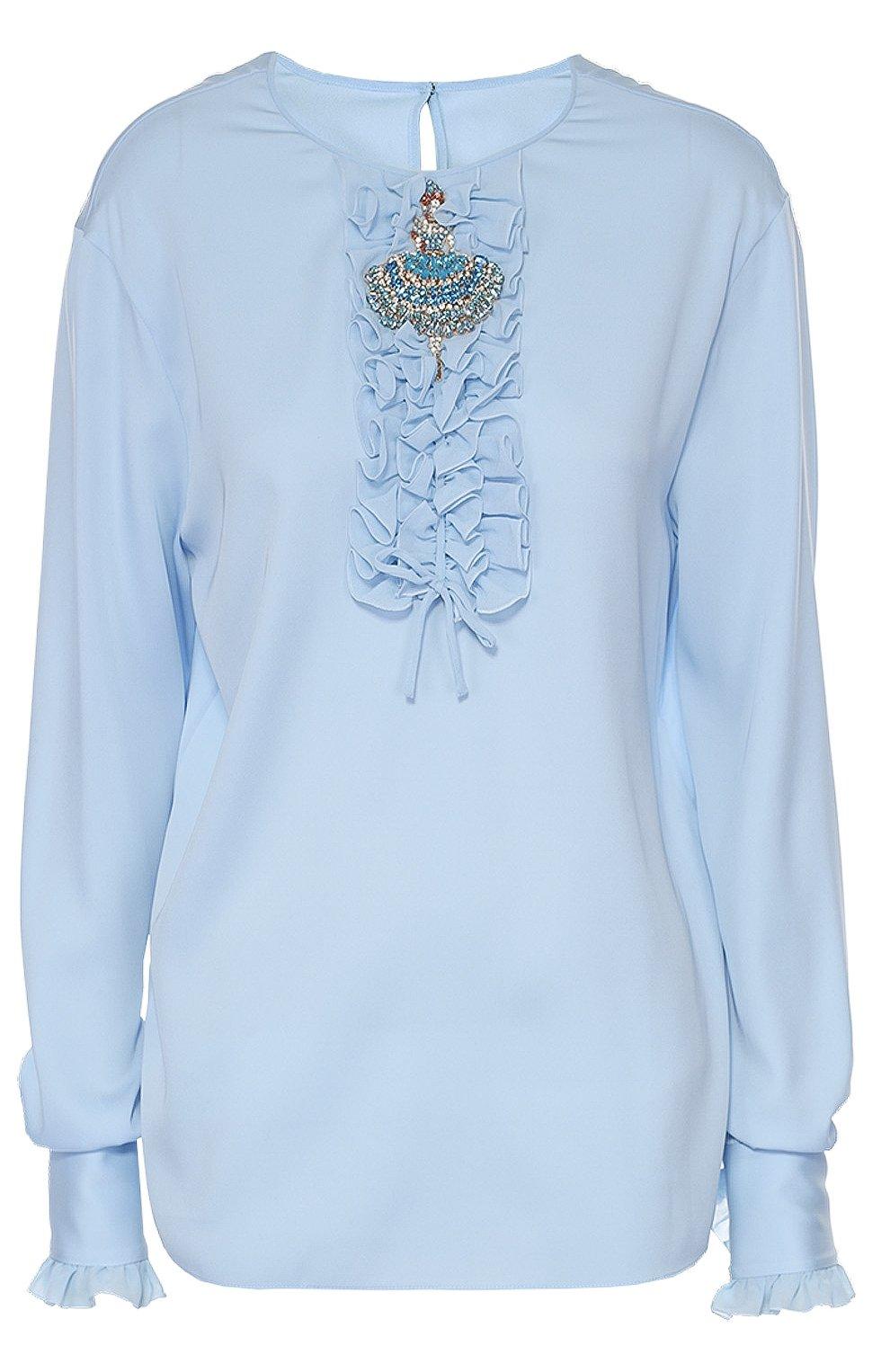Шелковая блуза с круглым вырезом и жабо | Фото №1
