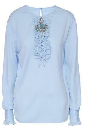 Шелковая блуза с круглым вырезом и жабо Dolce & Gabbana голубая | Фото №1