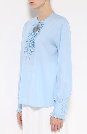 Шелковая блуза с круглым вырезом и жабо Dolce & Gabbana голубая | Фото №3