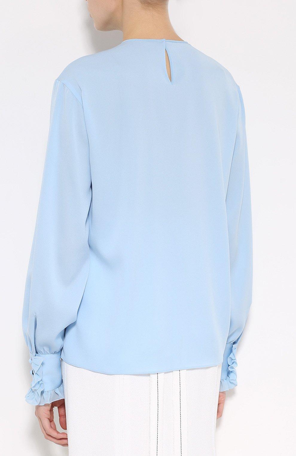 Шелковая блуза с круглым вырезом и жабо Dolce & Gabbana голубая | Фото №4