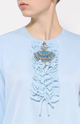 Шелковая блуза с круглым вырезом и жабо Dolce & Gabbana голубая | Фото №5