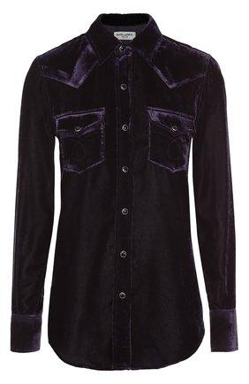 Бархатная блуза прямого кроя с накладными карманами | Фото №1