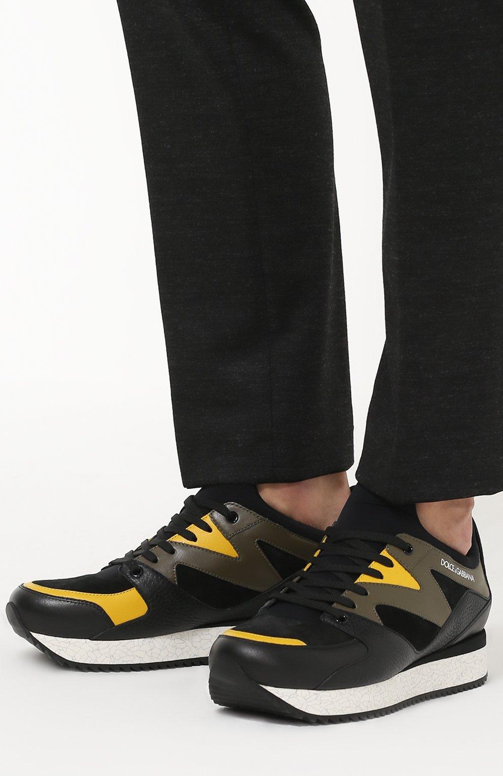 Кроссовки Belgrado из комбинированной кожи Dolce & Gabbana черные   Фото №2