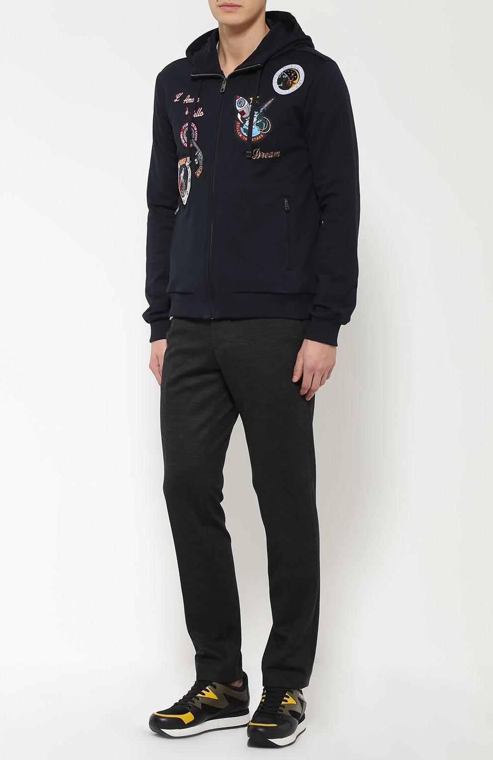 Кроссовки Belgrado из комбинированной кожи Dolce & Gabbana черные   Фото №3