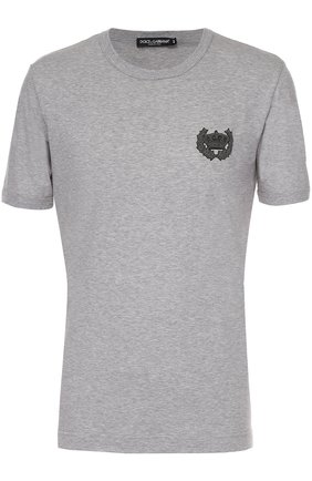 Хлопковая футболка с вышивкой Dolce & Gabbana серая | Фото №1