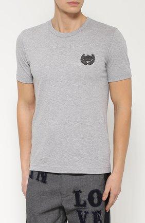 Хлопковая футболка с вышивкой Dolce & Gabbana серая | Фото №3