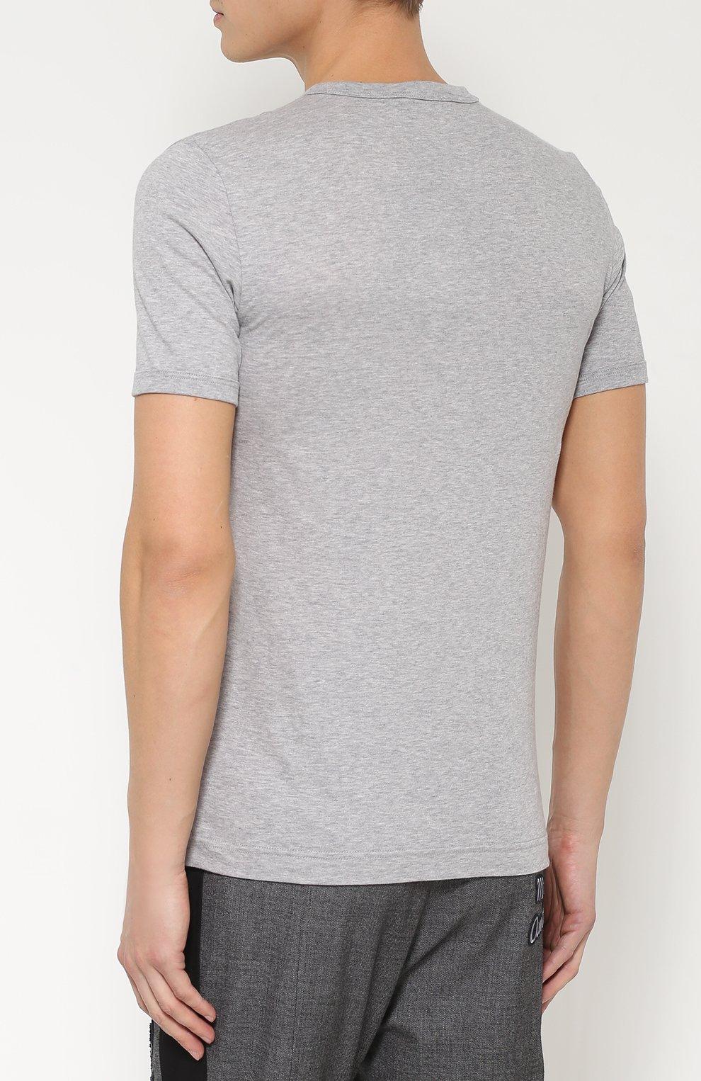 Хлопковая футболка с вышивкой Dolce & Gabbana серая | Фото №4