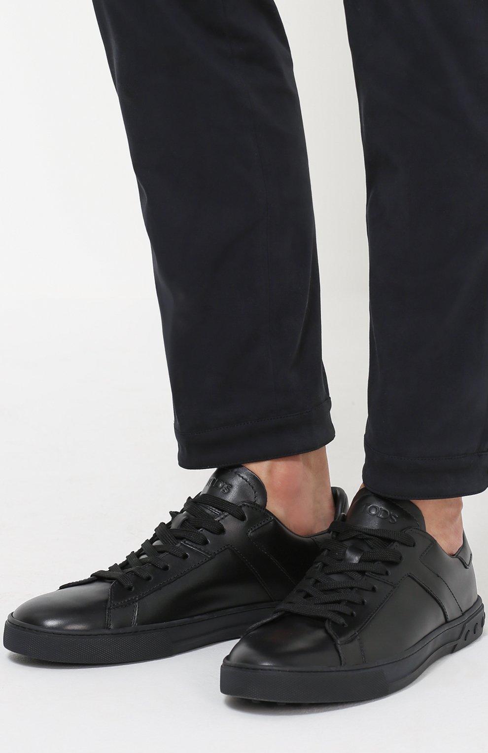 Кожаные кеды на шнуровке | Фото №2