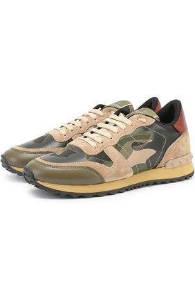 Комбинированные кроссовки Valentino Garavani Camouflage с принтом | Фото №1