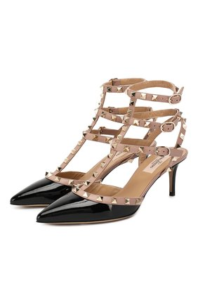 Женская лаковые туфли valentino garavani rockstud с ремешками VALENTINO черного цвета, арт. ZW2S0375/VNW | Фото 1
