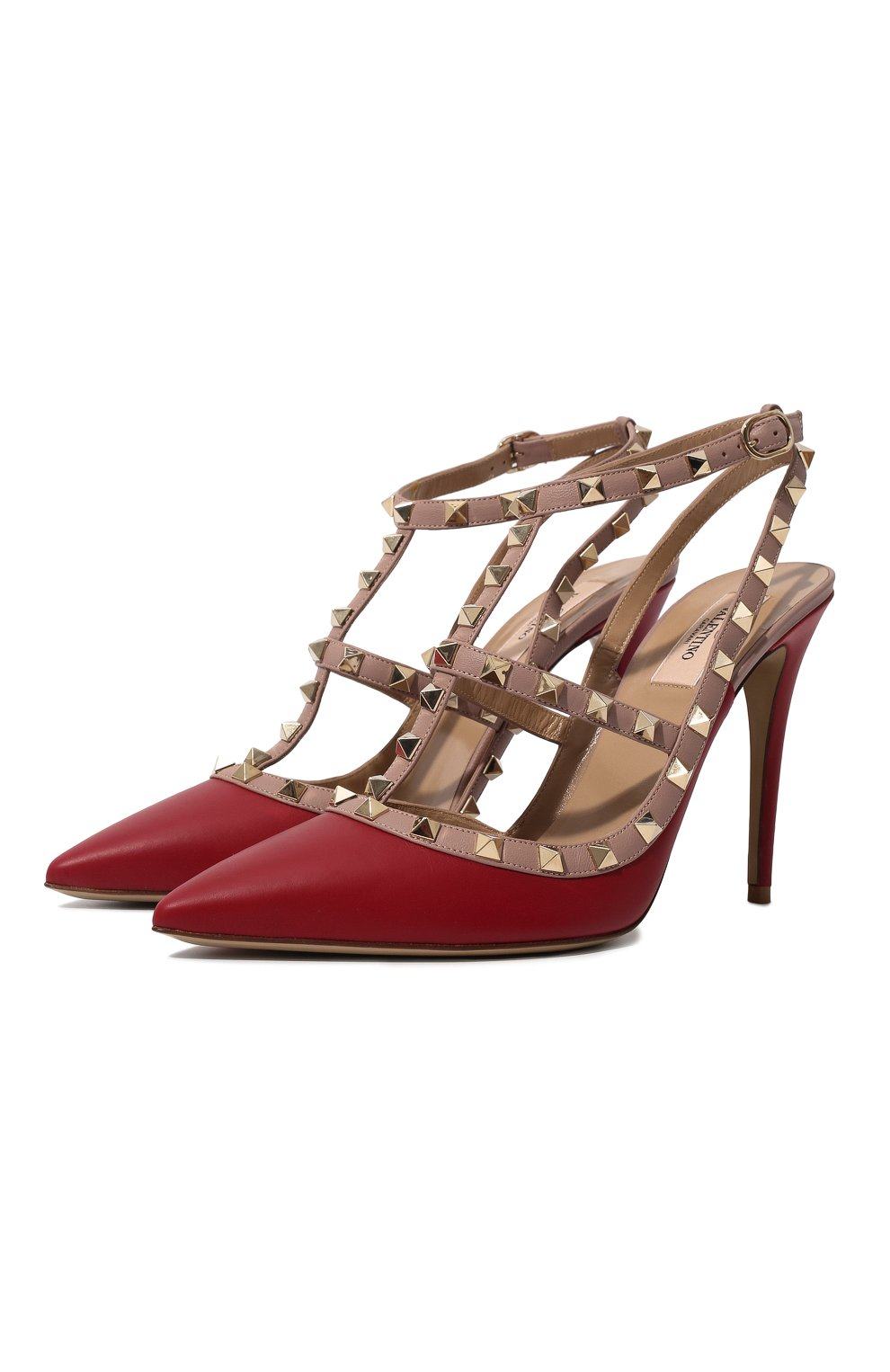 Женские кожаные туфли valentino garavani rockstud VALENTINO красного цвета, арт. ZW2S0393/V0D   Фото 1