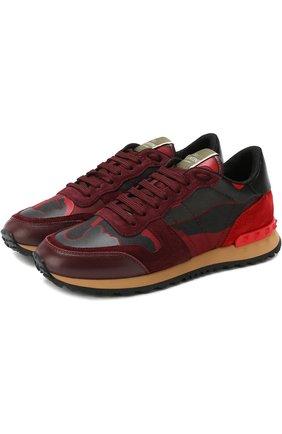 Женские комбинированные кроссовки valentino garavani camouflage с принтом VALENTINO красного цвета, арт. ZW2S0291/TCC | Фото 1