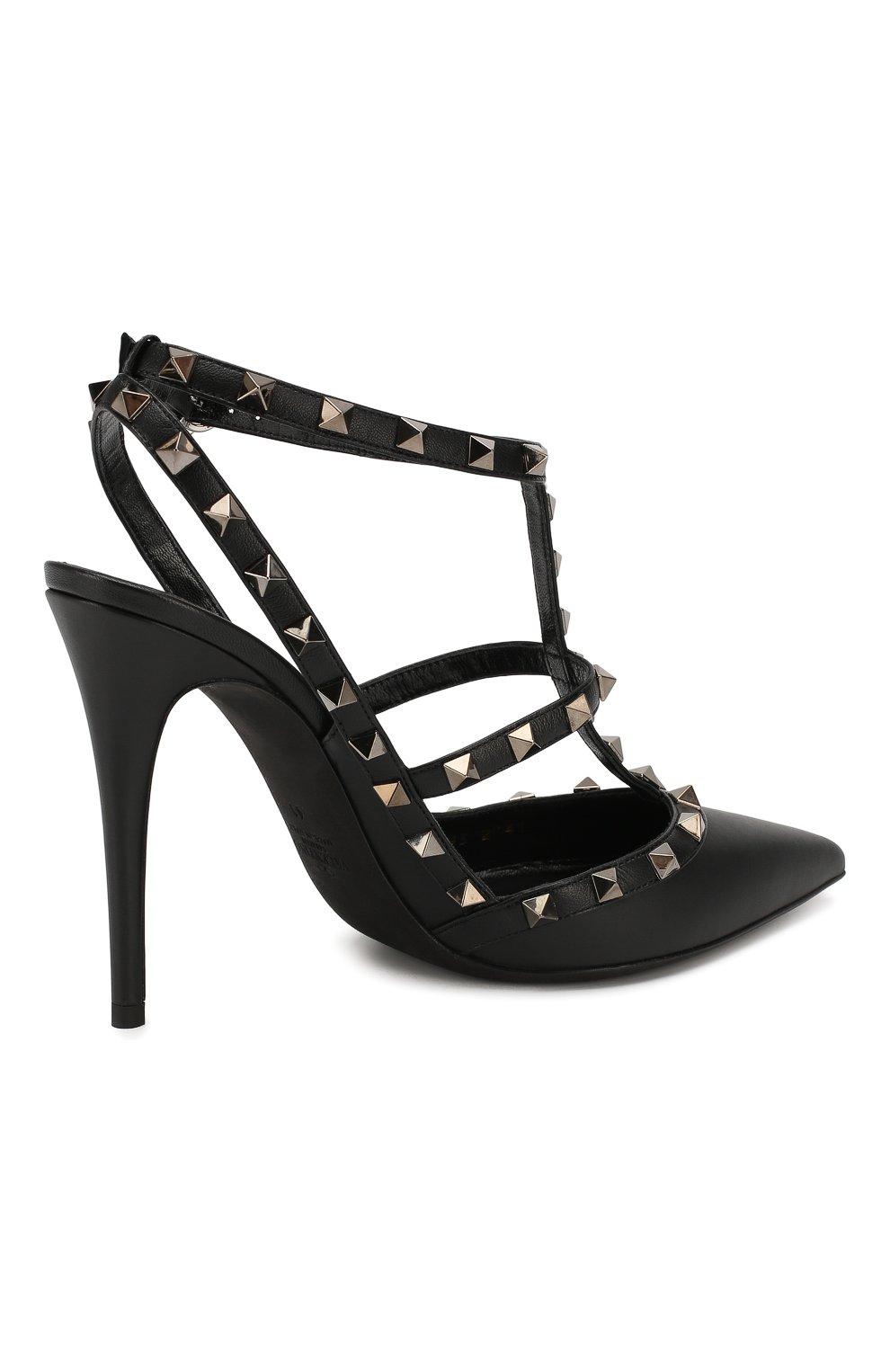 Женские кожаные туфли valentino garavani rockstud на шпильке VALENTINO черного цвета, арт. ZW2S0393/V0G | Фото 4