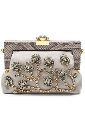 Клатч Vanda с кристаллами и отделкой из кожи питона Dolce & Gabbana серого цвета | Фото №1