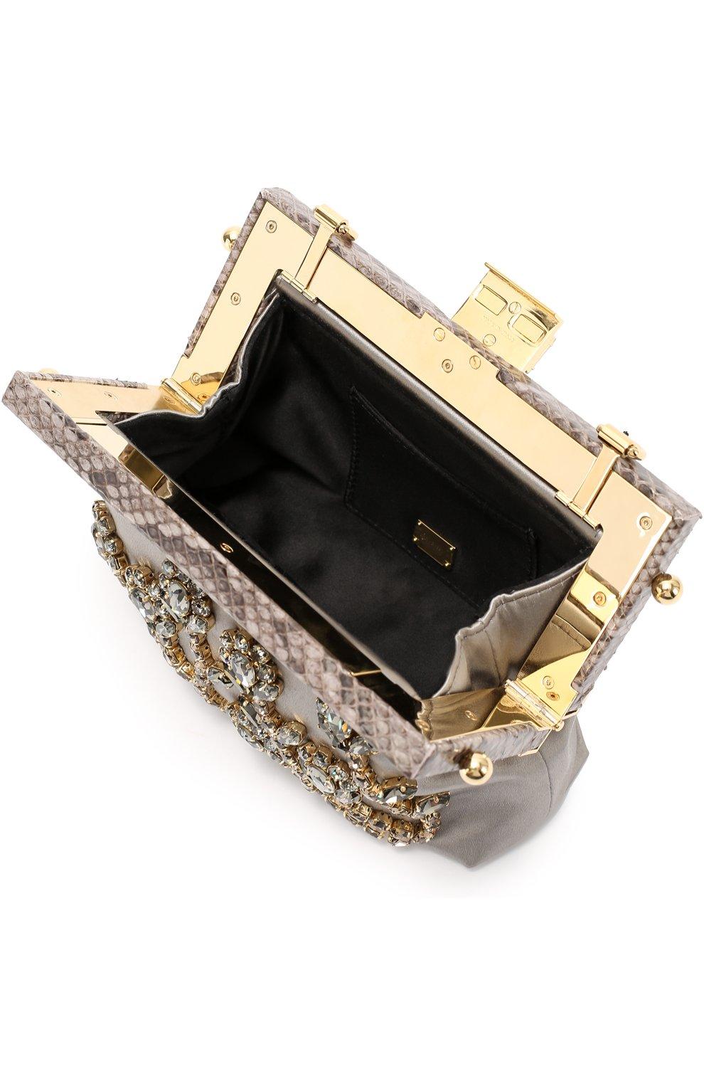 Клатч Vanda с кристаллами и отделкой из кожи питона Dolce & Gabbana серого цвета | Фото №4